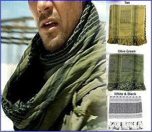 ARAB-SHEMAGH-KEFFIYEH-COTTON-SCARF-SHAWL-TAN-OLIVE-GREEN-WHITE-CAN-CHOOSE