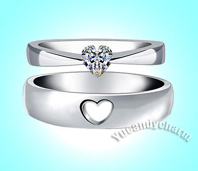 SET of TWO Made in Korea Open Matching Heart Cut CZ Love Couple Engagement Rings (Cut Couple)