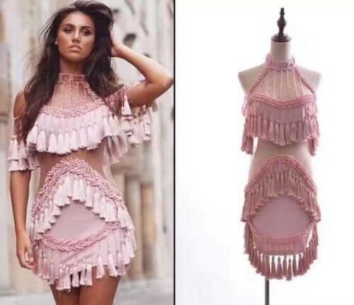 Купить Unbranded - Women Sexy Beads Tassel Pink Hang Neck Wrap Dress Slim Fit Mini Fringe Tops G938