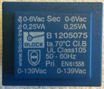 Block Vb 1.5a2 Pri 0-139vac Sec 0-6vac 0.25va 50-60hz Pcb Transformer En61558