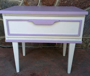 Night Table Painted  Light Mauve and Pale Grey (PIERREFONDS)