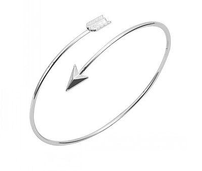 Hot Fashion Women Silver Plated Bangle Arrow Cuff Adjustable Bracelet Jewelry