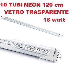 10-TUBI-NEON-LED-SMD-120-CM-VETRO-TRASPARENTE-18w-T8-LUCE-BIANCA-FREDDO-6000K