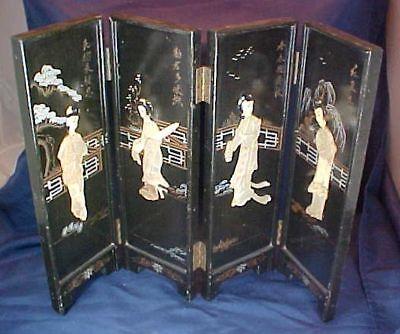 Vintage Oriental Design Wood Screen Divider Mother Of Pearl Type Figures Paint