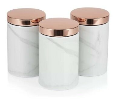 Kitchen Accessories Set - Set of 3 TOWER Rose Gold WHITE MARBLE...