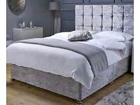 "🌺Divan Crushed Velvet 4ft6"" Double Size Beds Optional🌺"
