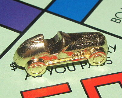 - Monopoly Deluxe Edition Board Game Part: RACE CAR TOKEN gold-colored metal charm