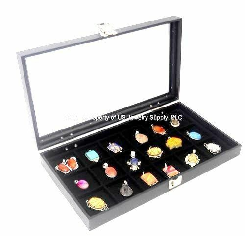 6 Glass Top Lid Black 18 Space Storage Display Boxes Cases Jewelry Pocket Watch