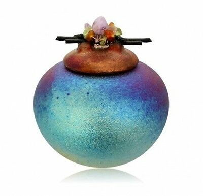 Dream Jar w/Gemstones, Raku Pottery NEW (gift boxed)