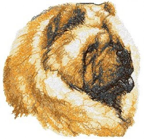 Large Embroidered Zippered Tote - Chow Chow AED14971