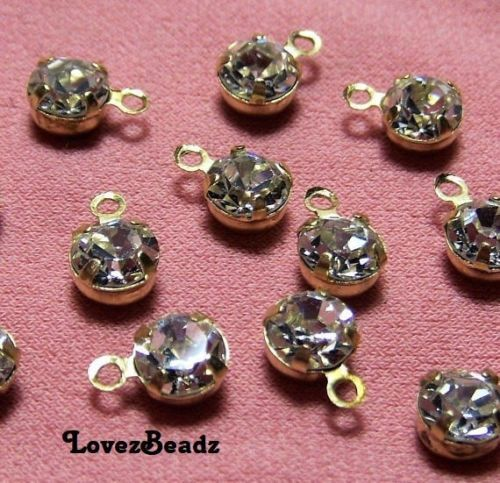 30 Tiny Delicate Crystal Rhinestone Settings-Drops-Charms-Faceted-Jewelry Making