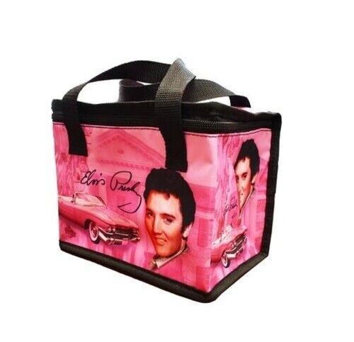 Elvis Presley Insulated Lunch Bag Pink With Guitars Print Licensed New With Tag