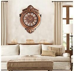 Hans&Alice Large Decorative Bronze Wall Clock, 29 Inches, Bronze Color