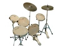 Dragon silent practise drum kit, cymbals and stands