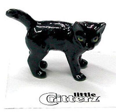 ➸ LITTLE CRITTERZ Cat Miniature Figurine Black Cat Kitten Onyx Miniature Cat Figurine
