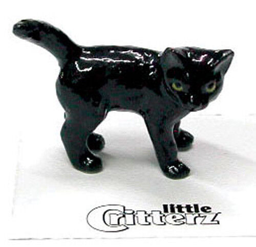 ➸ LITTLE CRITTERZ Cat Miniature Figurine Black Cat Kitten Onyx