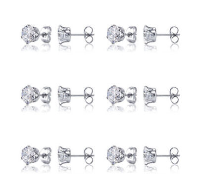 6 Pairs Stainless Steel Cubic Zirconia Round Cut Men Women Stud Earrings Set