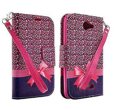 Pink Flip Folio Case (Alcatel One Touch Fierce 2 7040T Flip Folio Wallet Pouch Case Stand HOT PINK BOW )