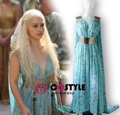 US SHIP Game Of Thrones Season Cosplay Dress Costume Luxury Daenerys Targaryen (Games Of Thrones Costume)