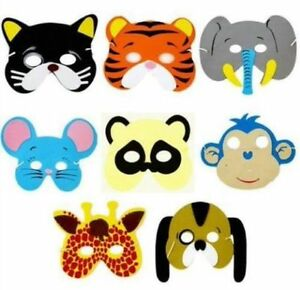 8x Childrens Kids Foam Animal Masks Dressing up Party Bag fillers Jungle Partys