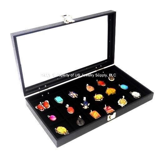 1 Glass Top Lid Black 18 Space Storage Display Box Case Jewelry Pocket Watch