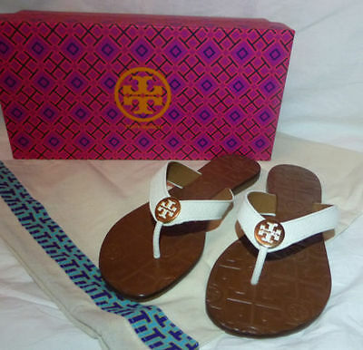Tory Burch THORA Flip Flop Thong Sandals Bleach White Leather Gold Size 8 NEW