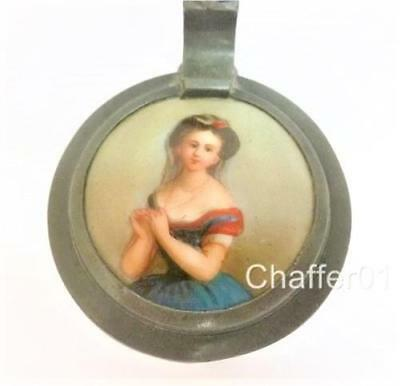 Antique Miniature Oil Painting Portrait on Miniature Lidded Glass Stein