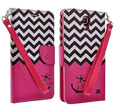 Samsung Galaxy Mega 2 PU Leather Flip Folio Wallet Pouch Case Stand HOT PINK -