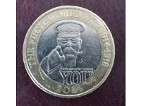 Lord Kitchener £2 Coin With Mint Error