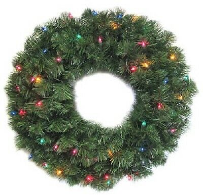 "(1) HOLIDAY WONDERLAND 24"" BATTERY OPERATED LED COLOR CHANGING WREATH 60087-88"
