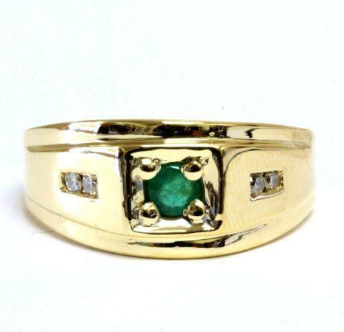 mens emerald diamond ring ebay. Black Bedroom Furniture Sets. Home Design Ideas