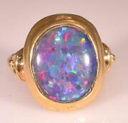 Black Opal Gold Ring