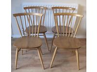 X4 blonde wood rare dining chairs ecrol ercol