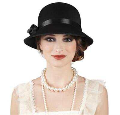 30er Jahre Kostüm (Charleston Hut Damen 20er 30er Jahre Kopfbedeckung schwarz  Kostüm Karneval)