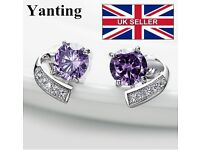 High-Quality Purple gem stone crystal summer style, Silver vintage earrings, fashion jewellery