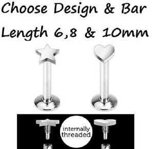 New-Internally-Threaded-Steel-Heart-or-Star-Tragus-Labret-Monroe-1-2mm-16g-K2