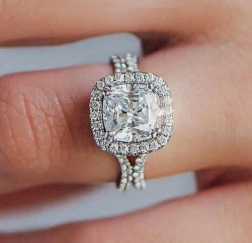 Platinum 2.90 Ct Cushion Cut Diamond Curve Shank Halo Engagement Ring J,VS2 GIA