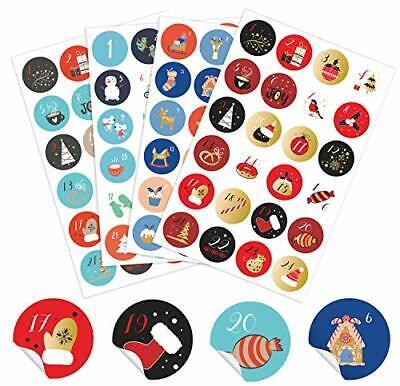 ANYUNKEY 4 x 24 Verschiedene Adventskalender Zahlen Aufkleber,5cm, 24 Sticker
