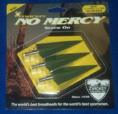 Zwickey No Mercy 2 Blade Screw In Broadheads - Double, Left, or Right Bevel