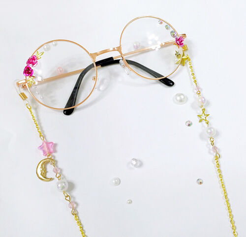 Japanese Vintage Harajuku Sweet Lolita Star Moon Gothic Chain  DIY Glasses