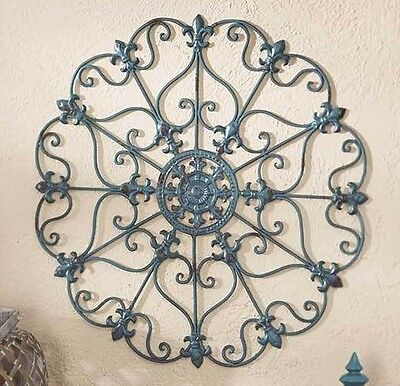 Teal Scrolled Wall Round Metal Medallion Entryway Dining/Living Decor Home Art