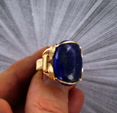 Large Lapis Lazuli Gemstone Ring in 14kt. Rolled Gold  Wire Wrapped (14kt Gold Handmade Ring)