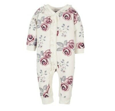 Gerber Baby Girl 1-Pc Modern Moments Organic Cotton Flowers Coverall Size 0-3M