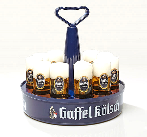 12 Gaffel Kolsch Cologne German Beer Glasses /& Kranz Serving Tray NEW