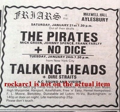 DIRE STRAITS TALKING HEADS  UK TIMELINE Advert - Friars Tues-24-1-78 3x3 inches
