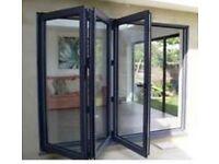 NEW Black 3 Door Bi Folding Door Unglazed