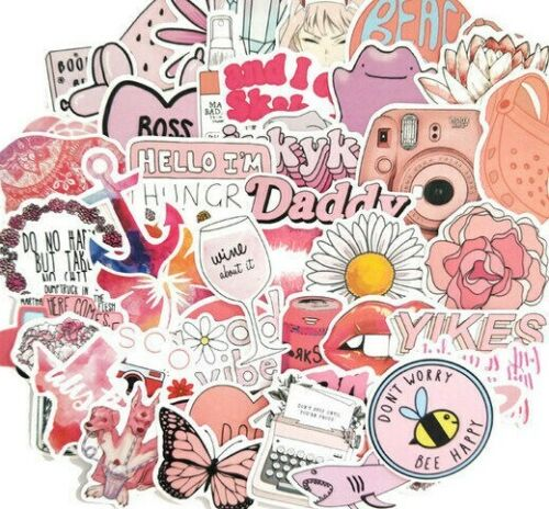 10pcs Pink VSCO Girl Stickers Hydro Flask Good Vibes Decal Teen Cute Positivity