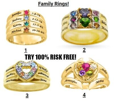 Personalized Sterling Silver Gold Plated Family Ring Mother Birthstone NAME 2020 Family Name Ring