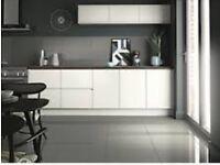 Grey high gloss ceramic tiles