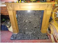 Antique look pine fire surround with granite hearth